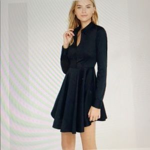 Express Stretch Cotton Black Skater Dress